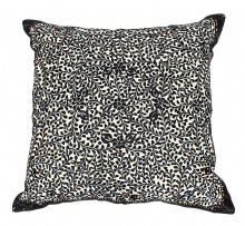 Moroccan Cushion Pillow Silk Square Black Rabat Embroidery 60 x 60 cm 23.6 x 23.6'' CR8